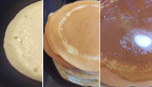 Pancake crepes 'pancrepes' with maple syrup and lemon